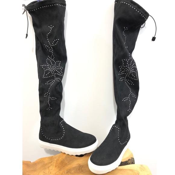 5be9c891dff J Slides Sock Boots Studded Black Shoes 6.5